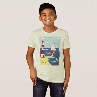 Camiseta Miúdos orgânicos - t-shirt náutico dos meninos
