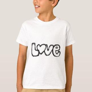 Camiseta moderno simples branco do preto do doodle do amor