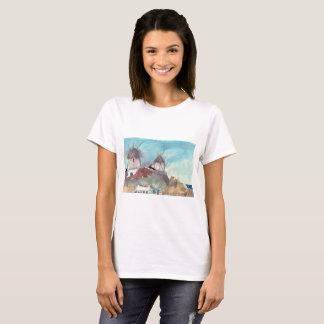 Camiseta Moinhos de vento famosos de Mykonos em um t-shirt