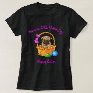Camiseta Mommas pouco Pug podre do felz pascoa do ovo