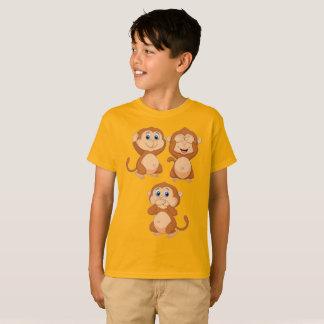 Camiseta Monkey o nenhum ouvem-se nenhum para ver nenhum
