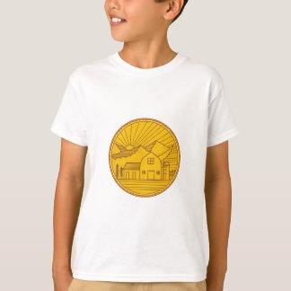 Camiseta Mono linha do círculo americano da montanha da