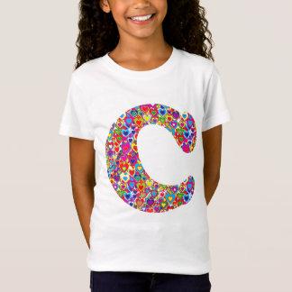 Camiseta Monograma enchido do divertimento coração dinâmico