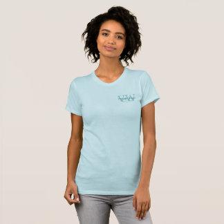 Camiseta Monogramas brancos azuis do logotipo do negócio da