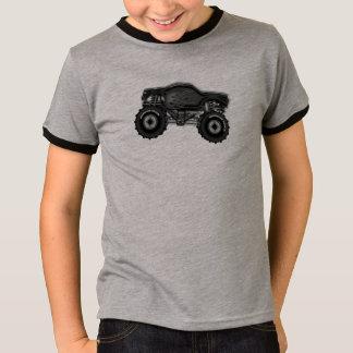 Camiseta Monster truck preto com o Tshirt das chamas para