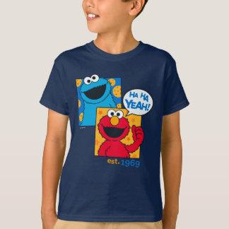 Camiseta Monstro & Elmo do biscoito   Ha Ha yeah