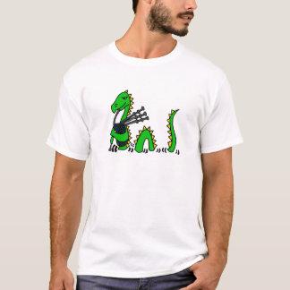 Camiseta Monstro engraçado de Loch Ness que joga Bagpipes