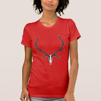 Camiseta Montagem européia do crânio dos alces de Bull, bw
