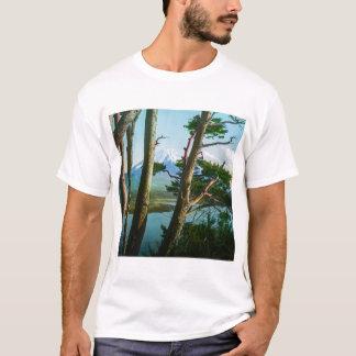 Camiseta Monte Fuji através do vintage Japão das madeiras