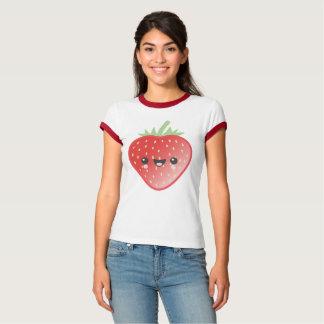 Camiseta Morango e flores de Kawaii