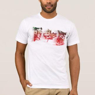 Camiseta Mosaico colorido da folha de bordo que acena a