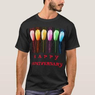 Camiseta Mostra FELIZ da tulipa da pétala cor-de-rosa n do