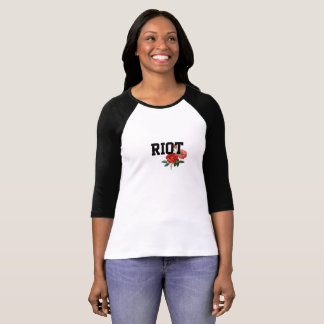 Camiseta Motim com o t-shirt do Raglan da luva das mulheres