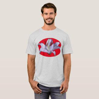 Camiseta Motivo oval vermelho do lírio branco no cinza 6x