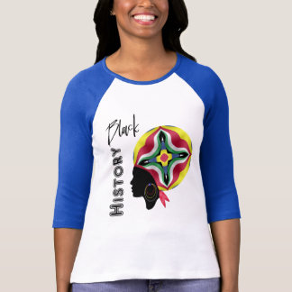 Camiseta Mulher africana étnica Graphc do mês preto da