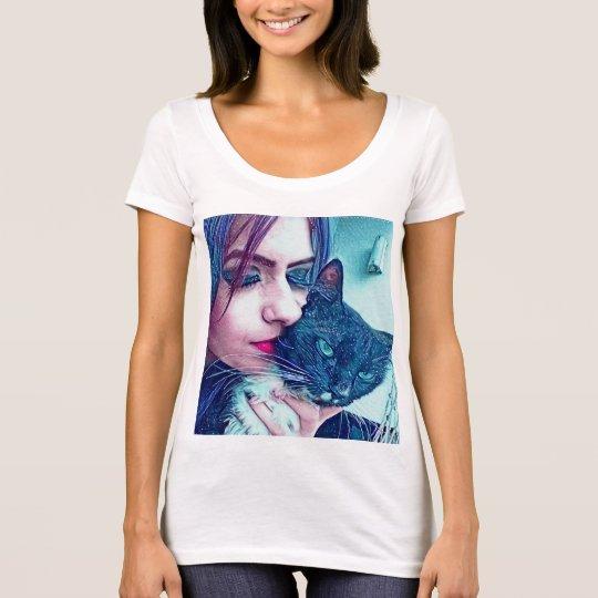 Camiseta mulher com gato