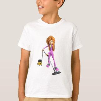 Camiseta Mulher dos desenhos animados que usa um vácuo