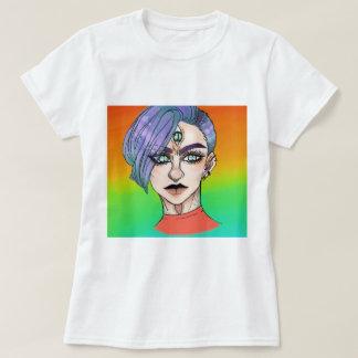 Camiseta mulher eyed três com multi fundo da cor
