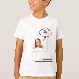 Camiseta Mulher loura que pensa no conselho branco