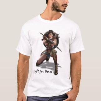 Camiseta Mulher maravilha que obstrui com braceletes