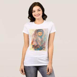 Camiseta Mulher tibetana: Cor de água original & digitado