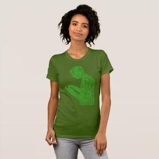 Camiseta Mulheres americanas da oração (azeitona com verde