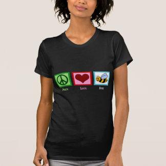 Camiseta Mulheres das abelhas do amor da paz escuras