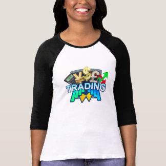 Camiseta Mulheres de troca brancas/t-shirt preto do Raglan