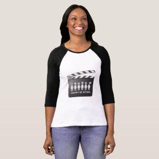 Camiseta MULHERES do basebol T da AÇÃO