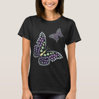 Camiseta Mulheres do diamante de Butterflys do cristal de