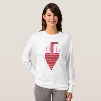 Camiseta Mulheres do fundo de Loveheart barco a ligação em