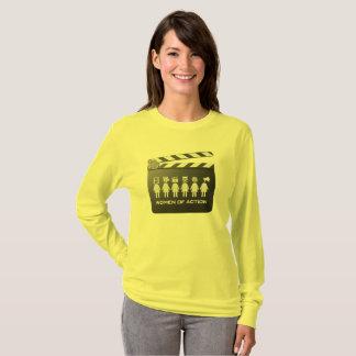 Camiseta MULHERES do jérsei longo longo da luva da AÇÃO