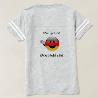 Camiseta mulheres do t-shirt da alemanha dos geht do wie