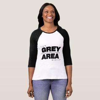Camiseta Mulheres meados de pretas brancas da luva da área