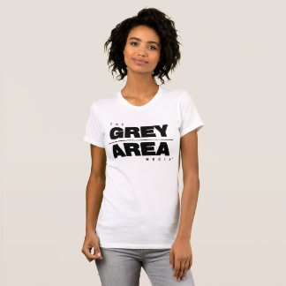 Camiseta Mulheres pretas brancas do roupa da área cinzenta