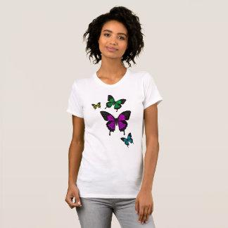 Camiseta Multi Butterfies colorido, borboleta da cauda da