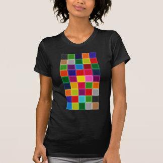 Camiseta Multi quadrados e listras coloridos femininos