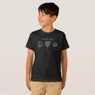Camiseta Mundo perfeito: Paz, amor, miúdo de Homeschooling