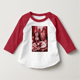 Camiseta MÚSICA que FAZ CAT, CORUJA, branco vermelho dos