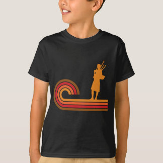 Camiseta Música retro da silhueta dos Bagpipes do estilo