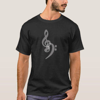 Camiseta Música - triplo e Clef baixo