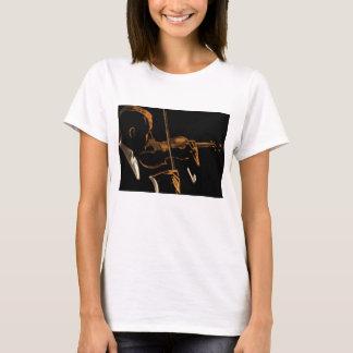 Camiseta Músico do vintage, violinista que joga a música do