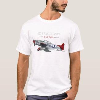 Camiseta Mustang vermelho da cauda P-51 dos aviadores de