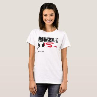 Camiseta MuZiK é… O t das mulheres com fones de ouvido