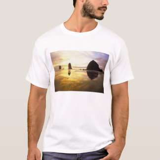 Camiseta N.A., EUA, Oregon, por do sol da praia do canhão