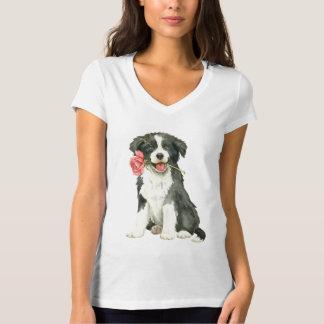 Camiseta Namorados border collie cor-de-rosa