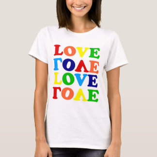 Camiseta Namorados da sopa do alfabeto do arco-íris do amor