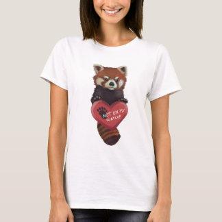 Camiseta Não em meu relógio - panda vermelha com coração