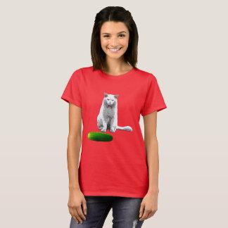 Camiseta Nao engraçado, gato e pepino
