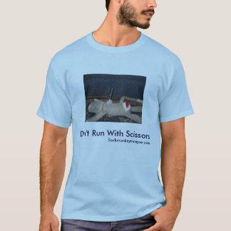 Camiseta Não funcione com o macaco da peúga de Tesoura-Joe